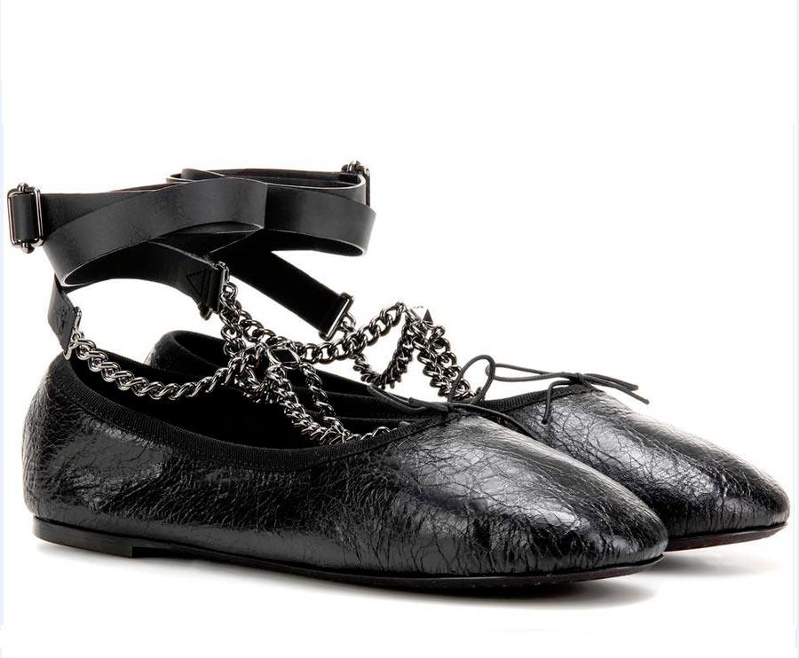 Ballerine Rockstud Noir in pelle valentino con catene allacciatura pelle caviglia