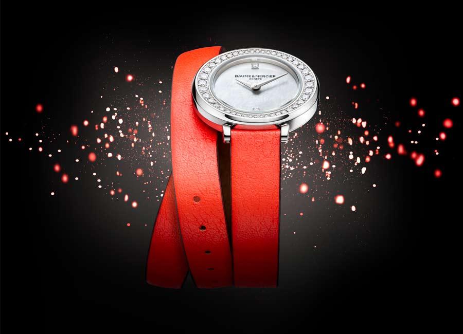 Baume et mercier orologi di lusso petite promesse cinturino rosso doppio giro