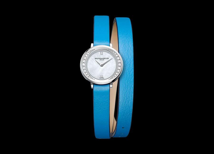 Baume et mercier orologi di lusso petite promesse cinturino azzurro doppio giro