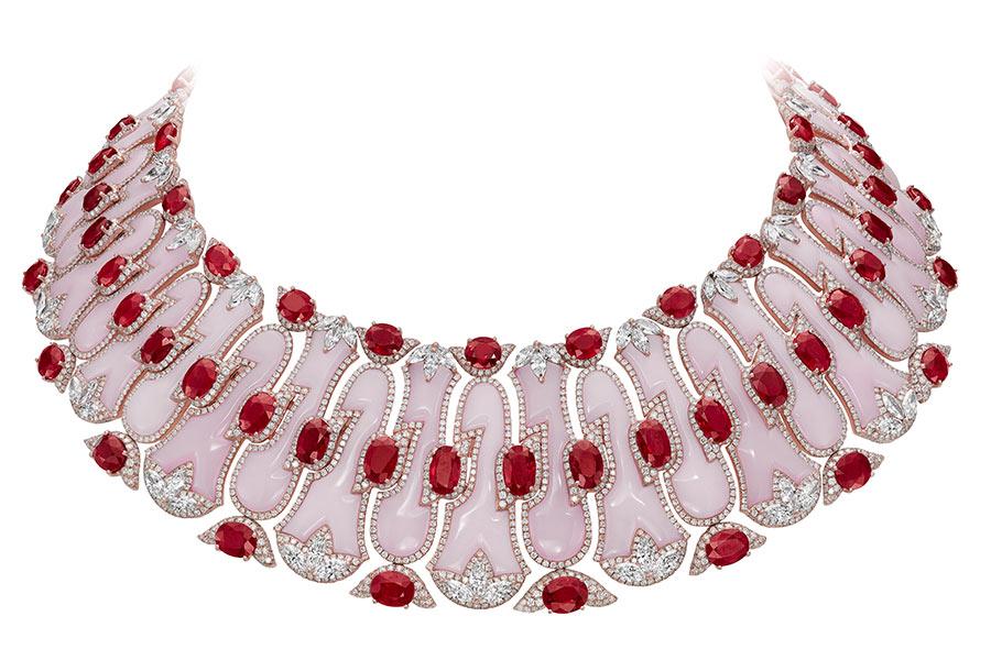 Boghossian - Collana composta da 78 rubini Burma, diamanti, opali, diamanti taglio brillante
