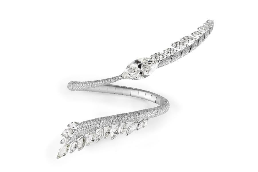 Boghossian - Bracciale Saut d'Ange composto da un diamante taglio marquise (7,38 carati), 23 diamanti taglio marquise (9,02 carati), 1162 diamanti taglio brillante (9,12 carati)