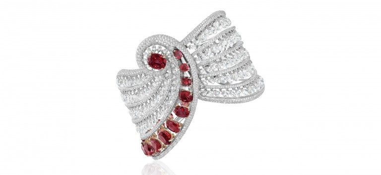 Boghossian - Floating like a drapery, this bracelet's rows of natural Burma rubies and briolette diamonds illustrate the elegance of a reverence