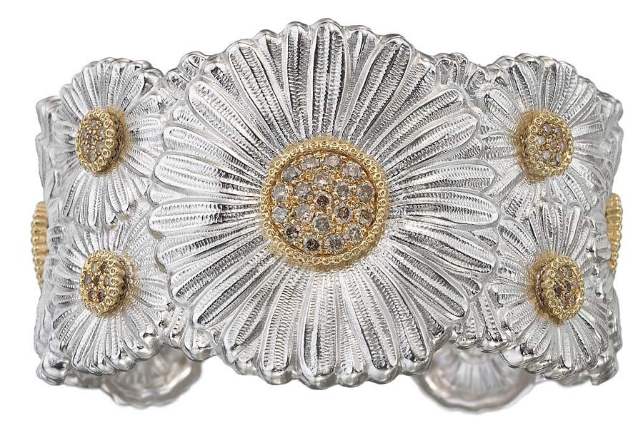Buccellati - Gallery Margherita - bracciale alto argento diamanti vista frontale