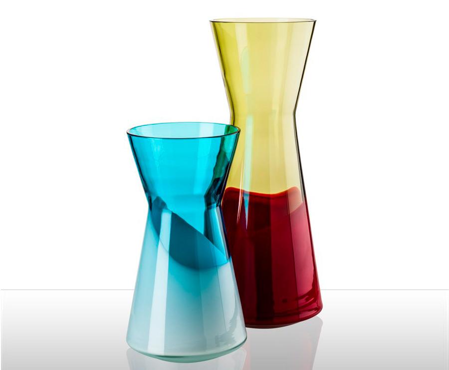 design days 2 vasi colorati, opere di Venini, maestri vetrai per design di eccellenza