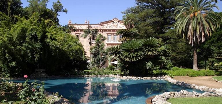 Ville di Lusso: villa tasca, vista orizzontale con parco e laghetto - img per highlights