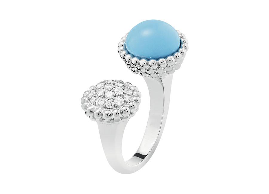Van Cleef & Arpels - anello turchese e diamanti oro bianco