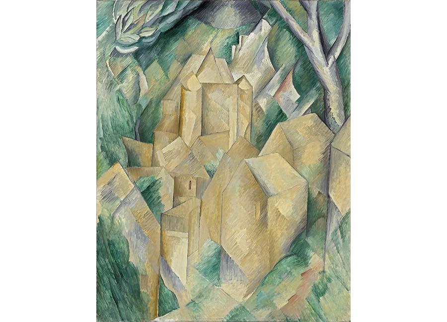 Georges Braque, Le Château de la Roche-Guyon, 1909, olio su tela, ©ADAGP, Paris 2016 Photo ©Moscou, Musée d'État des Beaux-Arts Pouchkine