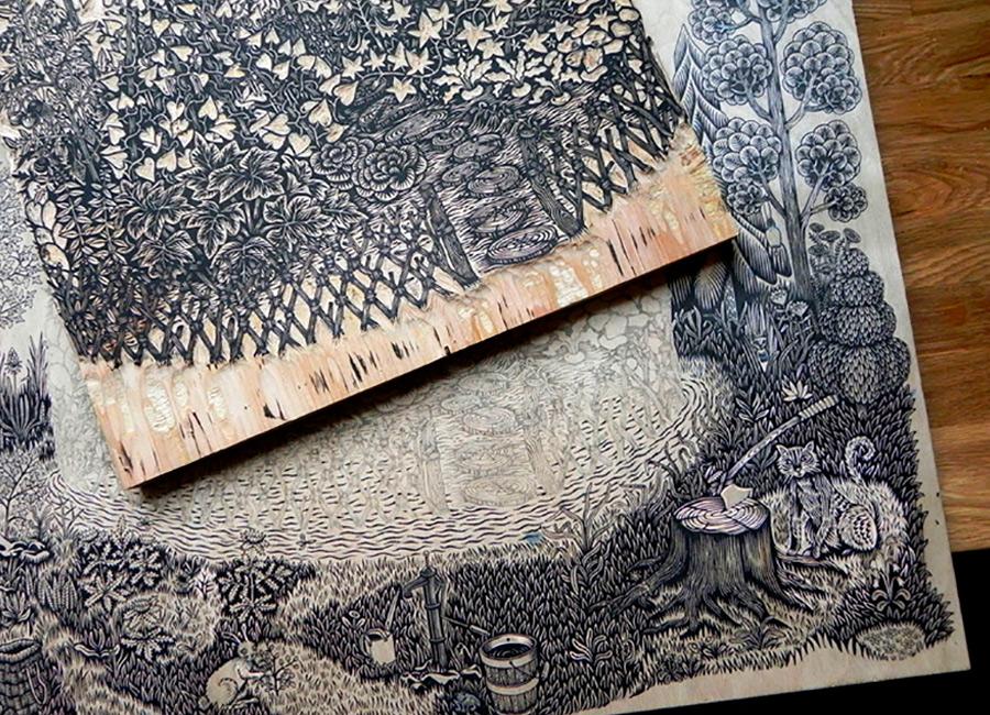 Braquenié - grand-corail-woodblock-printing-ukiyo-e tecnica 02