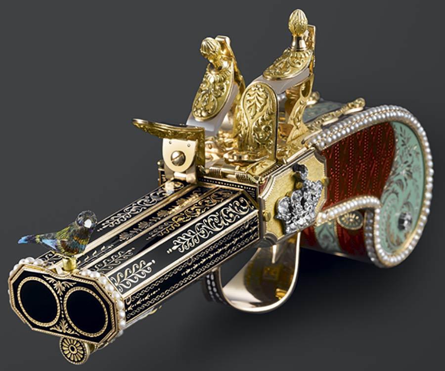 Parmigiani Fleurier pistolet à canon double, à oiseau chanteur