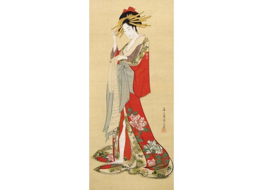 natale-silografia-di-hokusai-raffigurante-una-geisha-con-kimono-rosso-e-dettagli-floreali