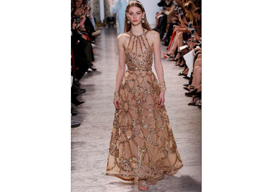 haute couture-Foto3_ ElieSaab_ Haute Couture Primavera Estate 2017_abito chiffon e ricami preziosi motivi floreali