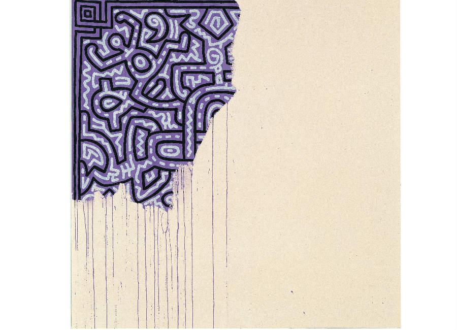 Keith Haring, Unfinished painting, 1989, acrilico su tela, 100x100 cm, collezione privata © Keith Haring Foundation