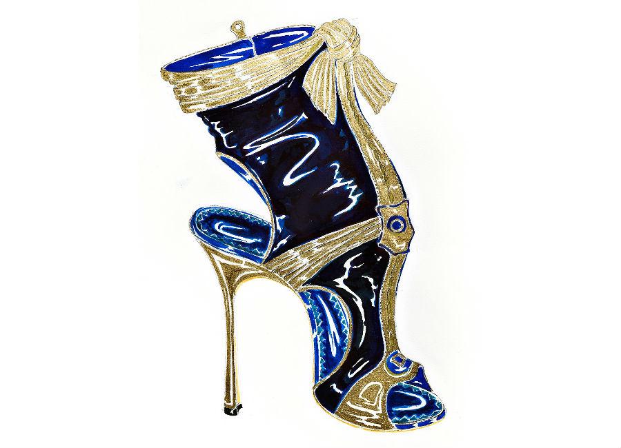 Manolo Blahnik _ The art of shoes_disegno artistico_ credits Alberto Feltrin