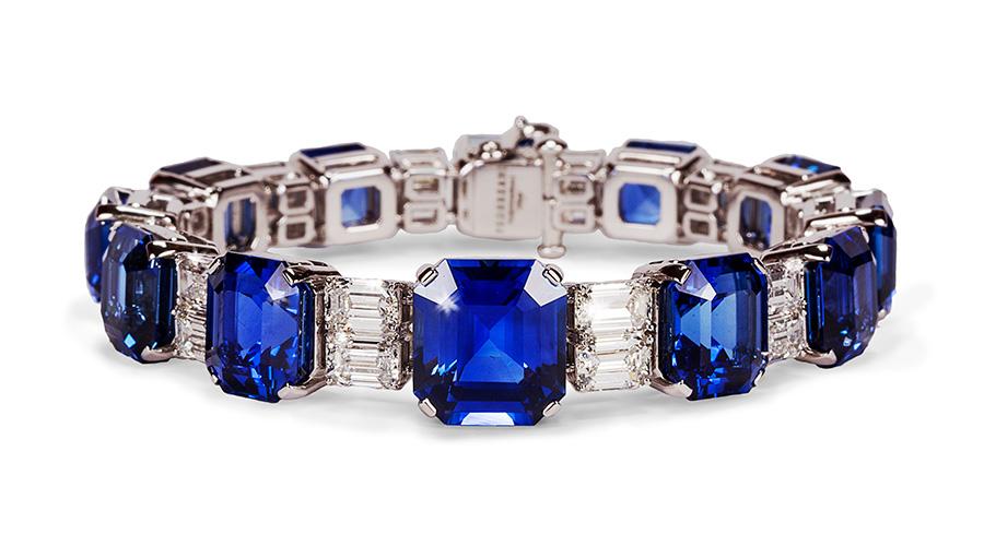 Pederzani - Bracciale con zaffiri taglio smeraldo e diamanti taglio baguette
