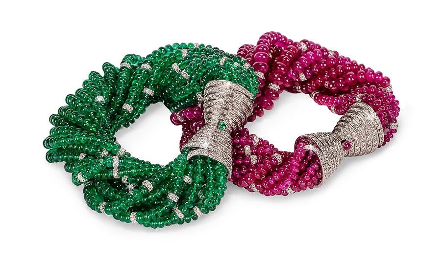 Pederzani - Bracciale torchon con diamanti e sfere di rubini. Bracciale torchon con diamanti e sfere di smeraldi