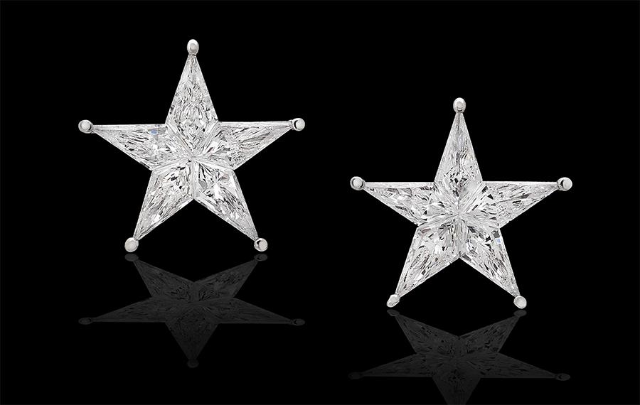 Pederzani - orecchini a forma di stella composta di 5 diamanti.