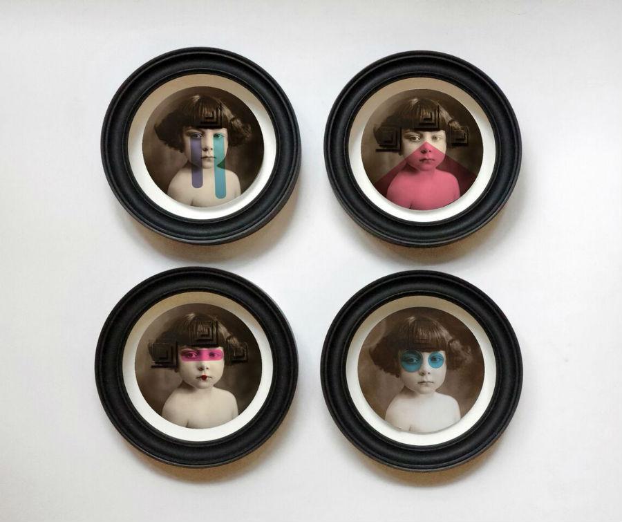MIA Photo Fair-Alfred Drago Rens-La Petite Gau-2016 Installazione di quattro elementi, 2016, Tecnica mista e collage 3D. Stampa inkjet su carta fotografica Epson Premium Glossy 255g, Dimensioni variabili. Ciascun elemento Ø 24 cm, Edizione: - , Courtesy: Galleria l'Affiche