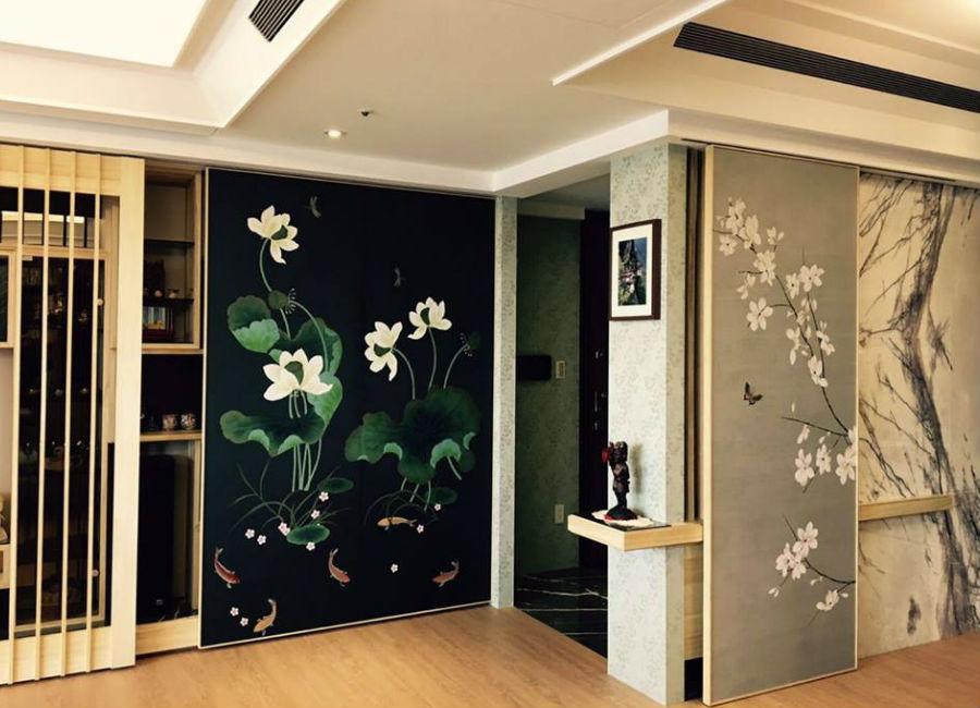 Misha Wallpaper-interior-design-made-in-italy-carta-da-parati-pareti-decorate-con-rami-di-fiori-e-foglie