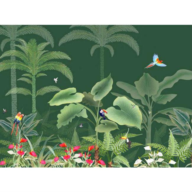 Misha Wallpaper-interior-design-made-in-italy-carta-da-parati-CON-VEGETAZIONE-TROPICALE-E-UCCELLI