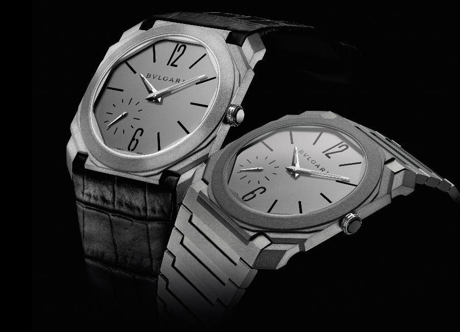 Octo Finissimo Automatico-bulgari-orologio-uomo-baselworld-titanio-sabbiato-cinturino-pelle-e-cinturino-metallo-decorato-a-mano-a-Côtes-de-Genève-e-perlage