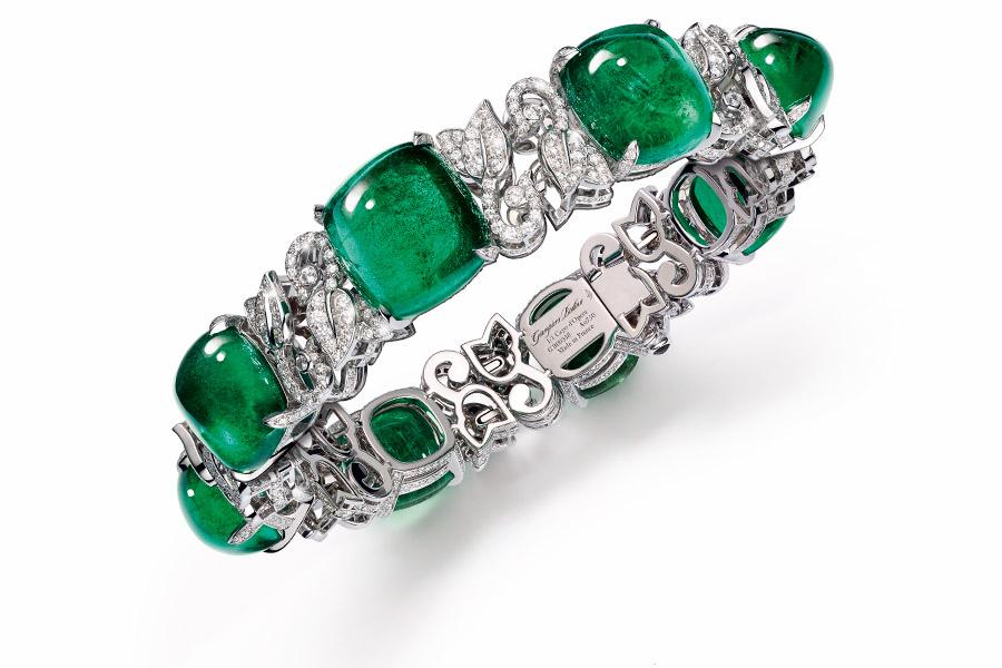 giampiero bodino bracciale 8 smeraldi primavera, diamanti e oro bianco