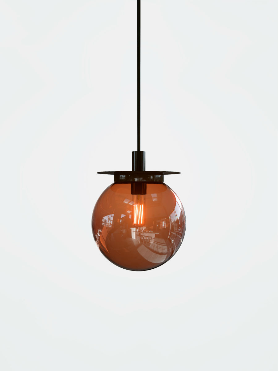 gio pagani-salone-del-mobile-2017-Eclat-d-Eau-single-nero-ambra_lampada-da-soffitto-color-ambra