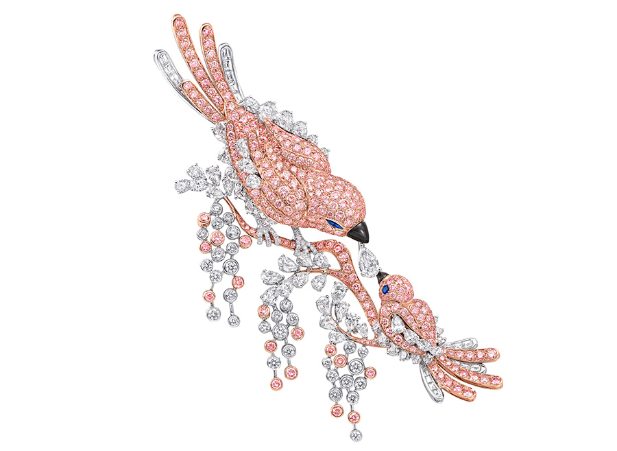 Graff – Spilla Bird con diamanti bianchi e rosa. (diamanti totali: 23.63cts)