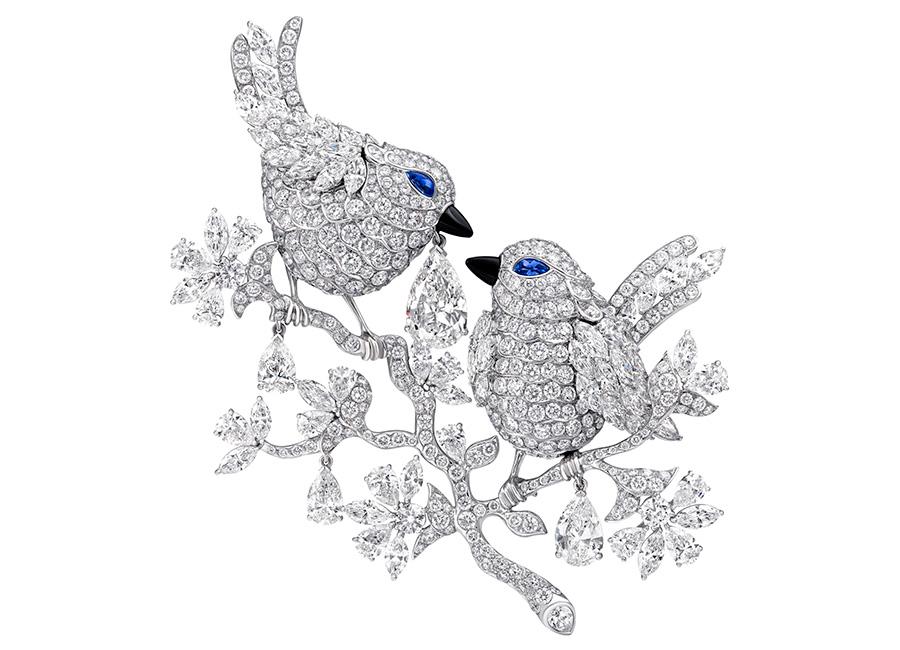 Graff - Spilla Lovebirds, un diamante taglio a pera di 4,02 carati (diamanti totali: 42.82cts)