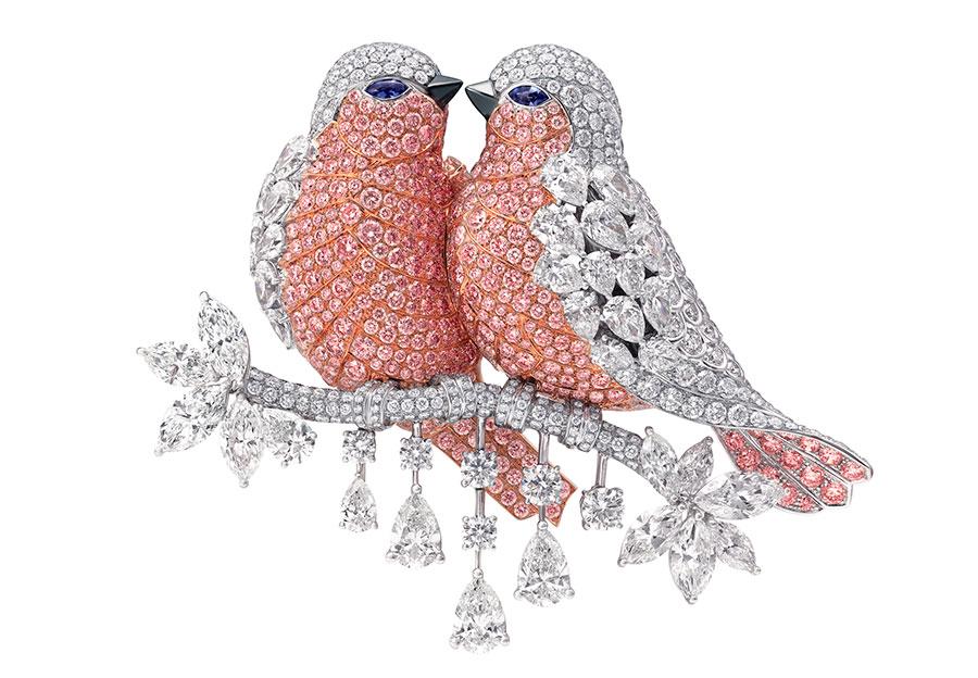 Graff - Spilla Lovebirds con diamanti bianchi e rosa (diamanti totali: 47.31cts)