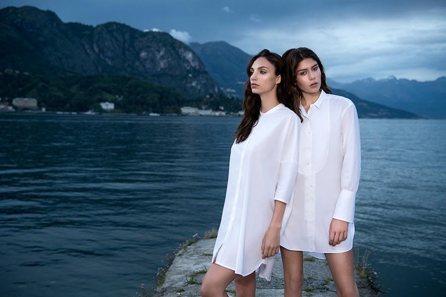 Bagutta-modelle-in-camicia-bianca-lunga