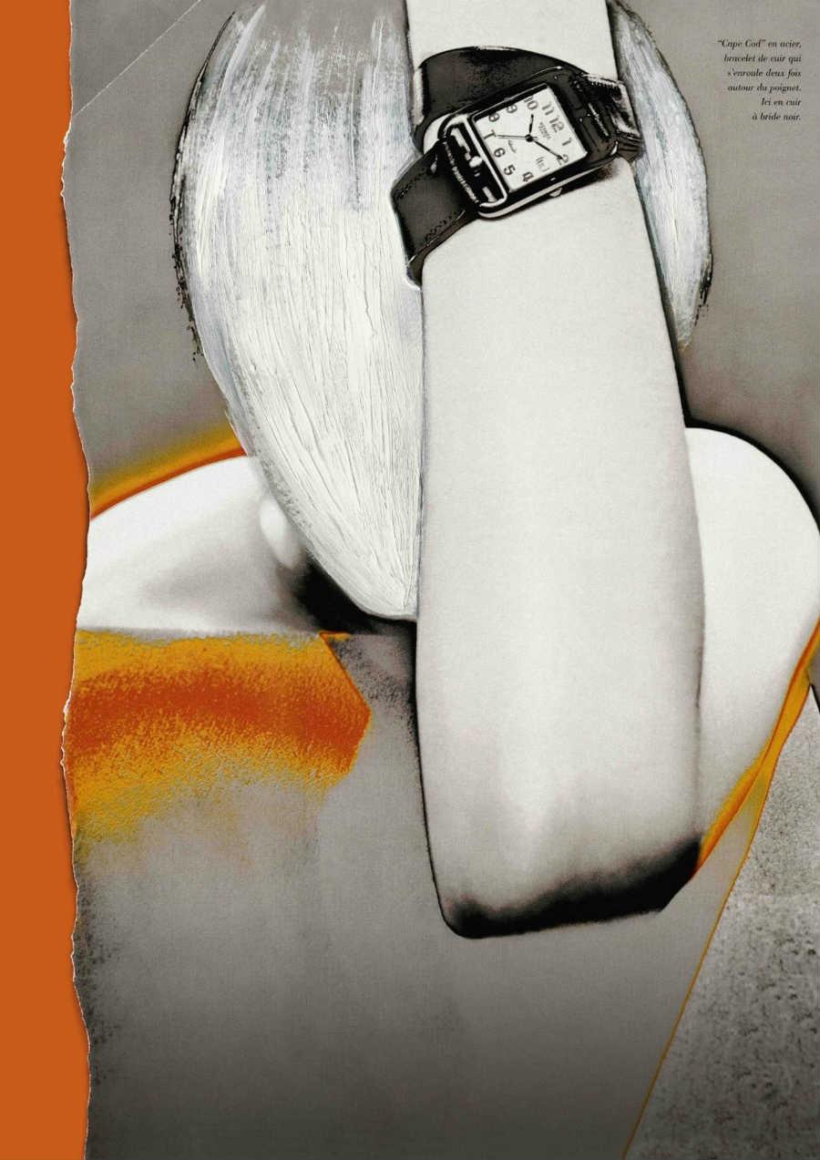 Martin Margiela: campagna pubblicitaria, disegno in griigio e arancione
