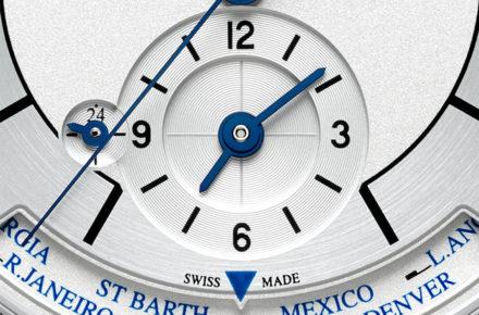 Master-Control-Jaeger-Le-Coultre_particolare del quadrante.L'indicatore del secondo fuso orario, regolabile in maniera pratica e veloce dalla corona posta sulla cassa a ore 10, è abbellito da una finitura guillochè circolare.