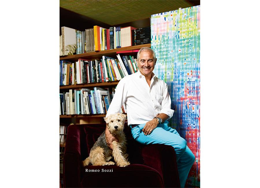 Romeo Sozzi-designer-ritratto-con-cagnolino