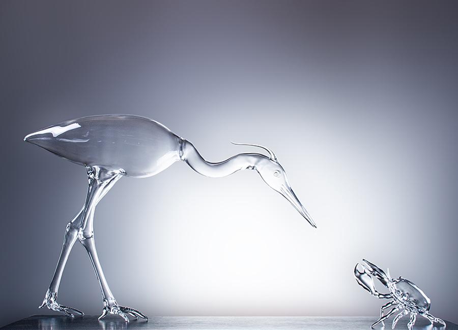 "Simone Crestani: animali di vetro, ""The hunting heron"", 2014 © Atelier Crestani"