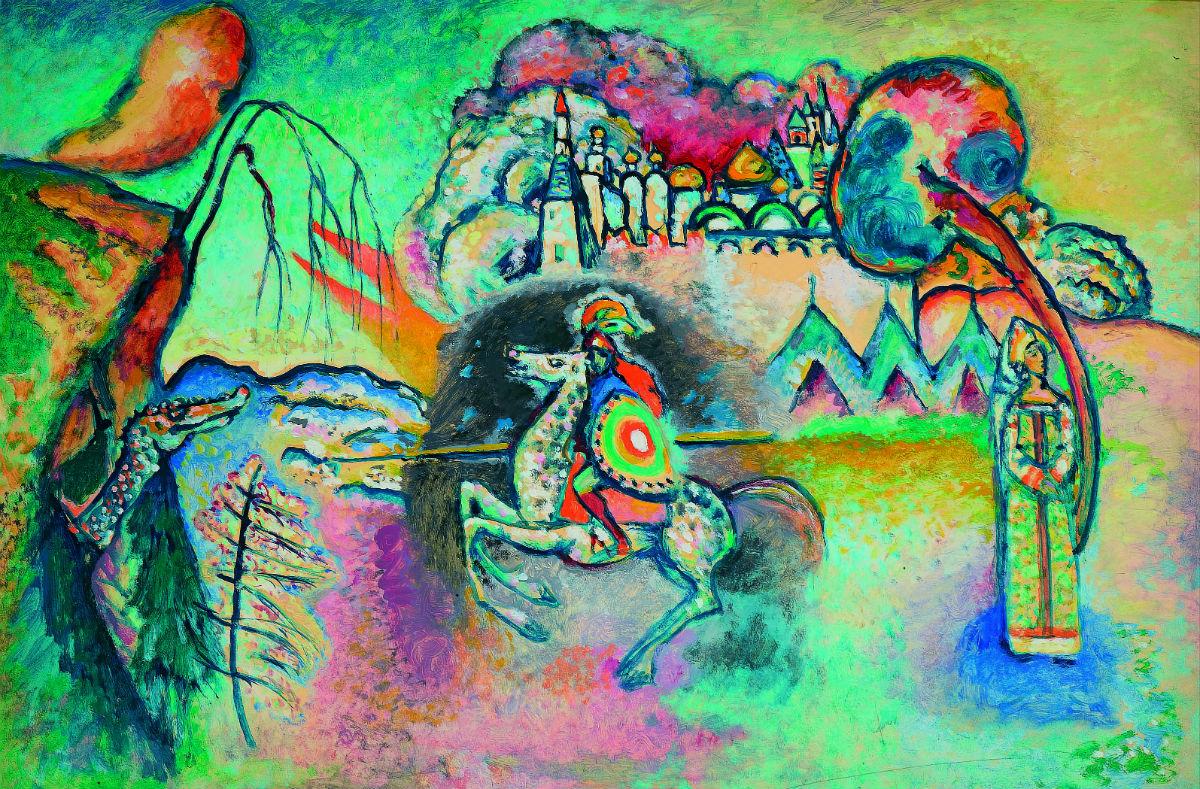 Vasilij Kandinskij_quadro-Il cavaliere (San Giorgio),1914-15_Olio su cartoncino, cm 61 x 91, Mosca, Galleria Tret'jakov_© State Tretyakov Gallery, Moscow, Russia;