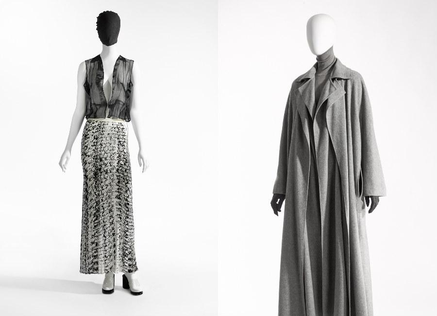 Martin Margiela: immagini di abiti su manichinol in bianco e nero