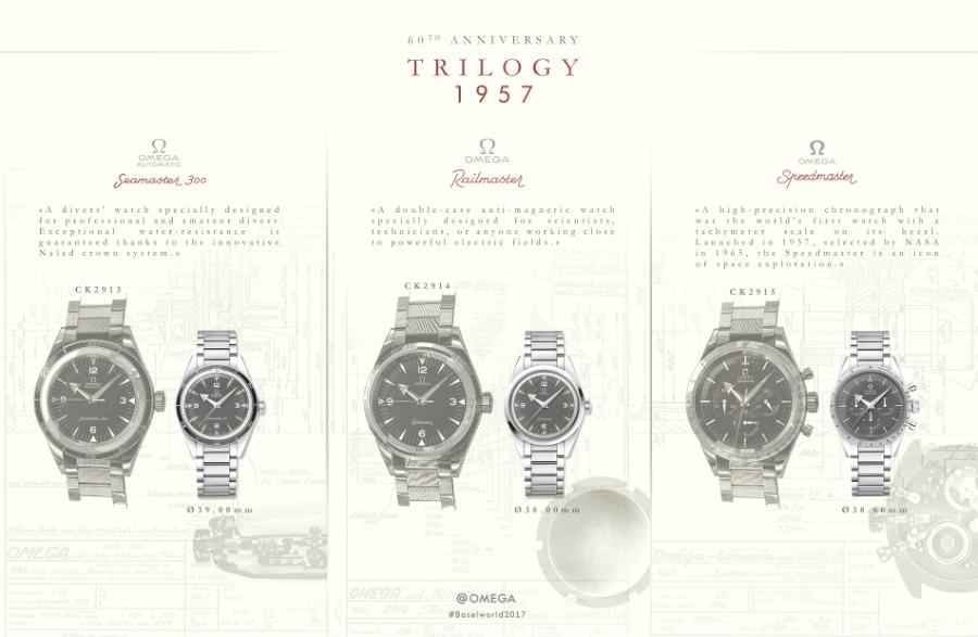 Omega: I tre nuovi modelli della collezione Trilogy presentati a fianco delle relative versioni originali del 1957. Che queste ultime siano nate temporalmente a poca distanza l'una dall'altra è dimostrato anche dai rispettivi numeri di referenza.