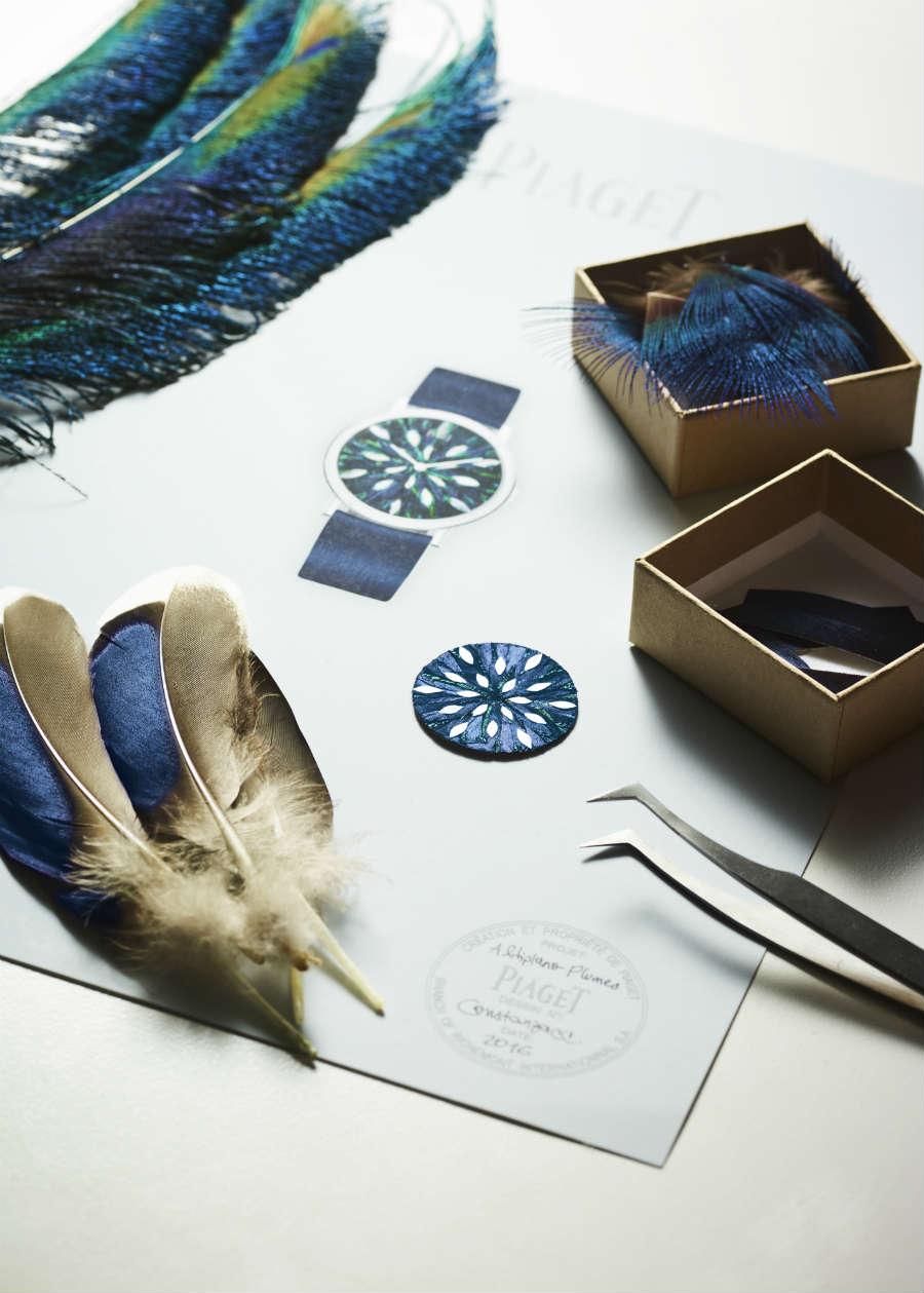 Altiplano Feather Marquetry Ref. G0A42060: Dettaglio del quadrante finito di fianco alle piume naturali d'anatra e di pavone usate per la sua realizzazione