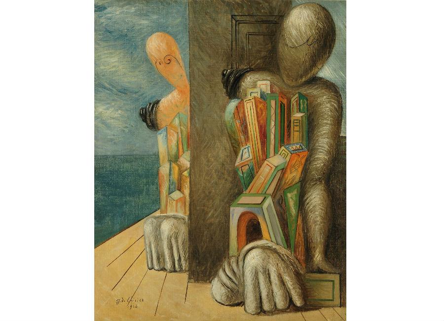 New York New York. Arte italiana: la riscoperta dell'America: quadro-De Chirico_Manichini in riva al mare, 1926