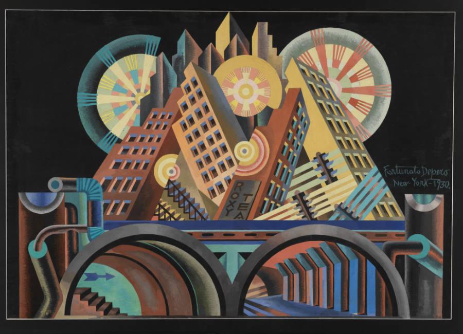 New York New York. Arte italiana: la riscoperta dell'America: quadro-Depero_Grattacieli e tunnel, 1930