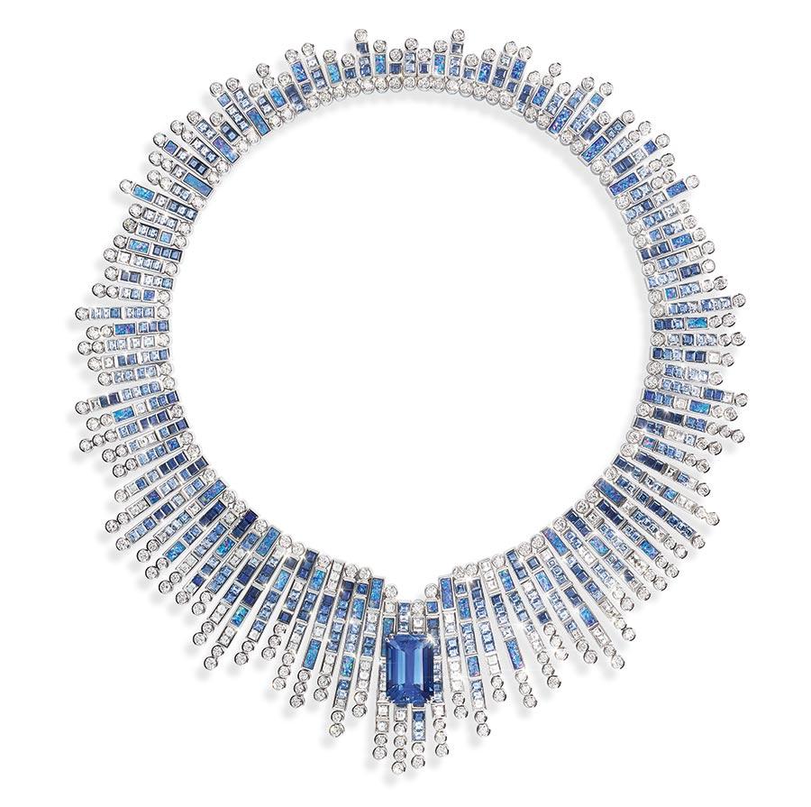 Piaget - Collezione Sunlight Journey - Collana Azzurro Bisazza - in oro bianco con 1 zaffiro blu taglio smeraldo dello Sri Lanka ( 20,14 carati), zaffiri blu, opali neri e diamanti