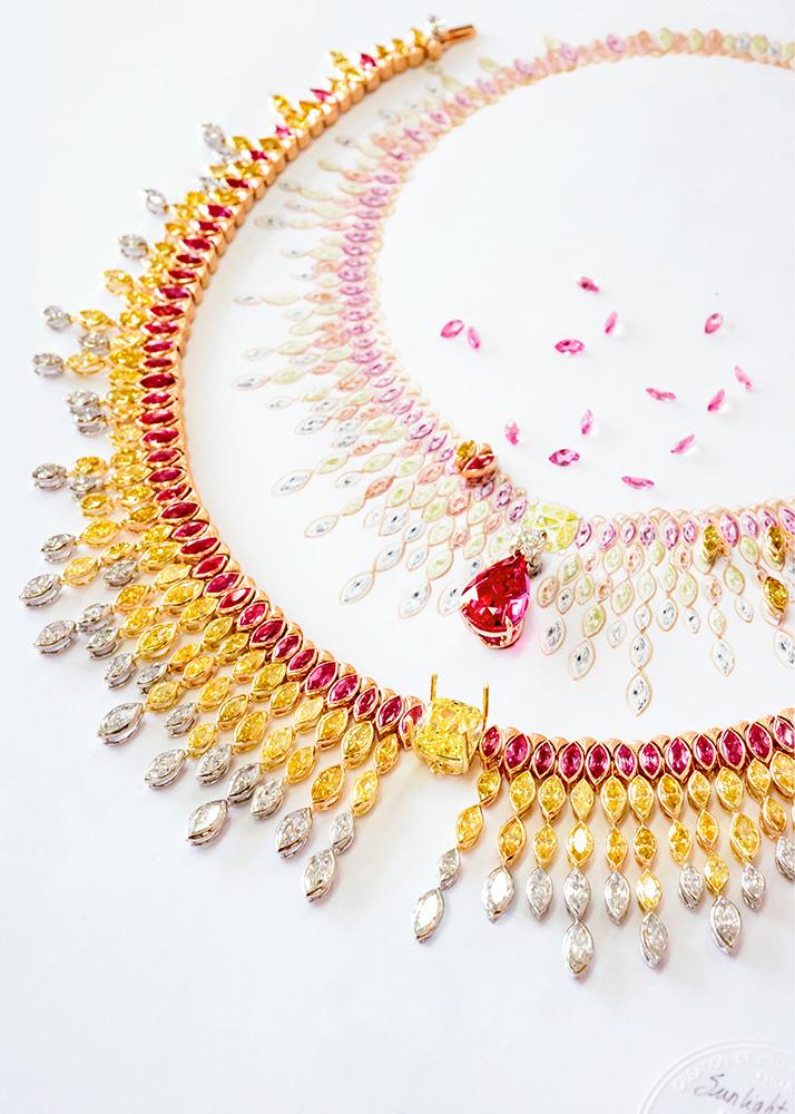 Piaget - Collezione Sunlight Journey - Collana Sunlight Journey - in oro rosso, oro rosa e oro giallo e platino con 1 spinello rosso a goccia (Tanzania) (10,09 carati), 1 diamante giallo taglio cuscino (Vivid-VS2 - 6,63 carati), 1 diamante taglio brillante (F-VVS2 - 0,80 carati), spinelli rossi, diamanti gialli e bianchi –con prediletto taglio navette tanto caro a Piaget - Modello trasformabile