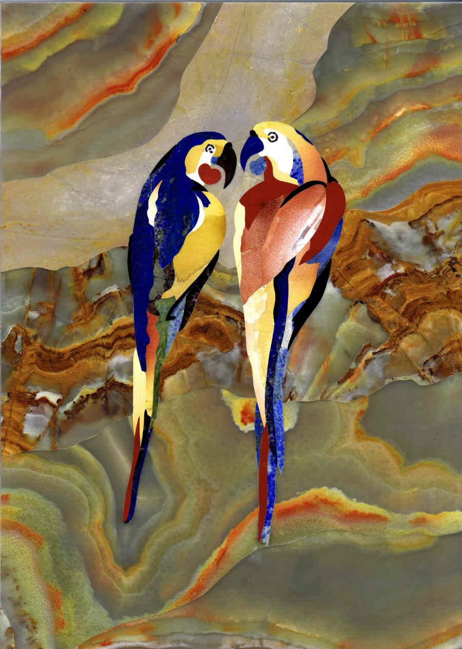 """Scarpelli Mosaici: Stupendo """"dipinto di pietra"""" raffigurante 2 pappagalli"""