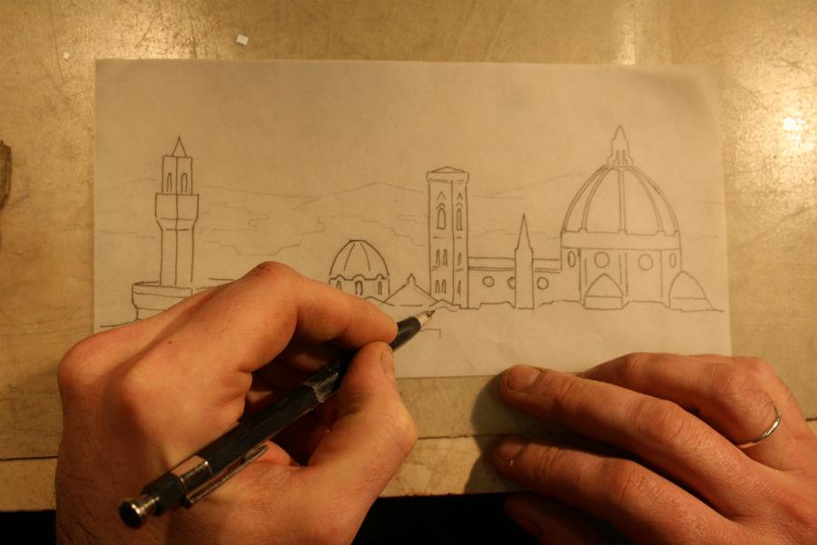Scarpelli Mosaici: bozzetto a matita di un paesaggio di Firenze