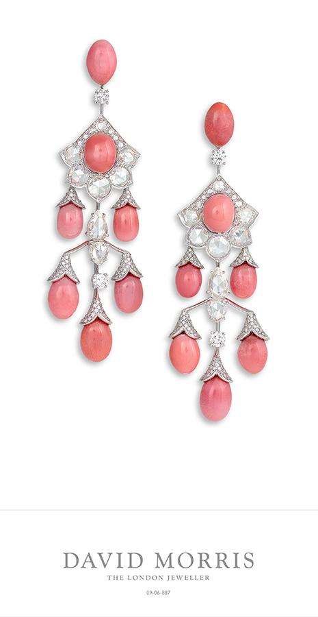 Alta Gioielleria: David Morris - orecchini con perle conch rosa (53.18 cts) e diamanti (8.91 cts)