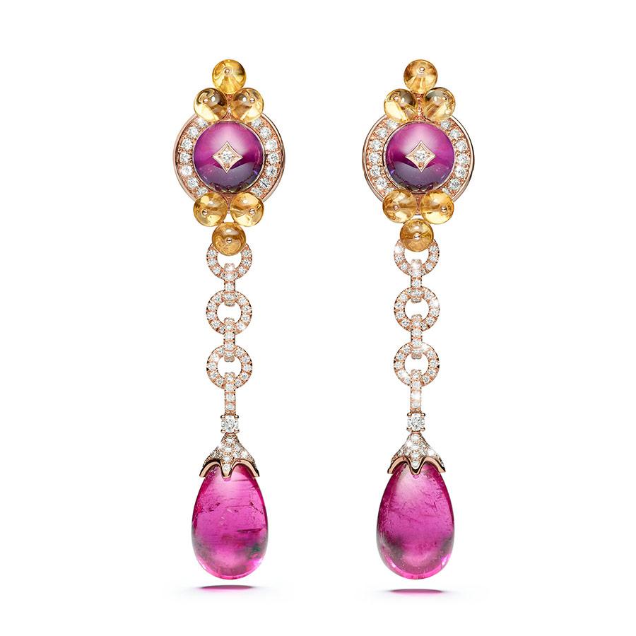 Alta Gioielleria: Giampiero Bodino – Mediterranea - Collezione di alta gioielleria - Orecchini Barocco in oro rosa, due rubelliti (25,30 cts), ametiste, berilli gialli, diamanti, oro rosa.