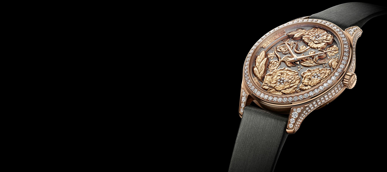 chopard LUC XP Esprit de Fleurier Peony – movimento meccanico a carica automatica Calibro L.U.C 96.23-L di manifattura – riserva di carica di 65 ore – cassa da 35 mm in oro rosa – cinturino in tela spazzolata antracite – edizione limitata a 8 esemplari (esclusiva boutique).