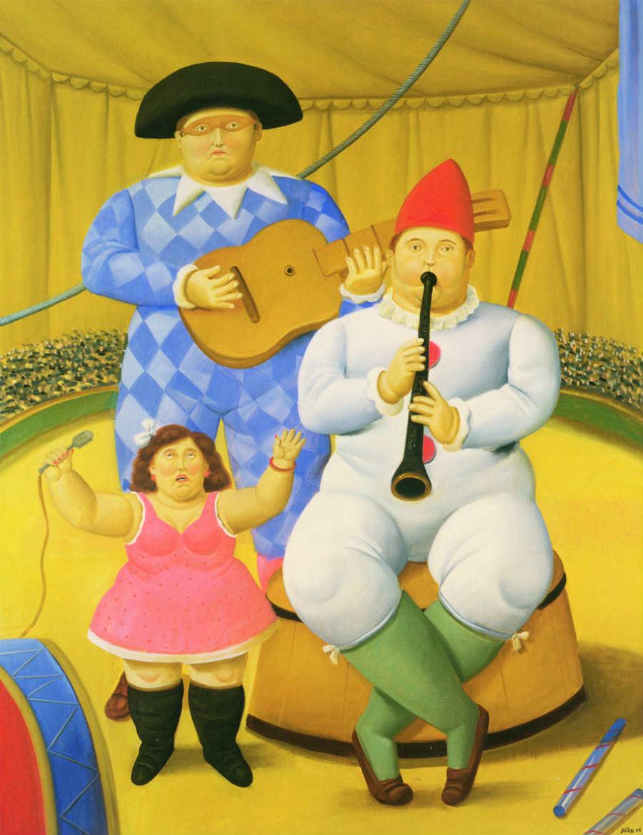 Fernando Botero - Musici, 2008 , Olio su tela; 178x100 cm