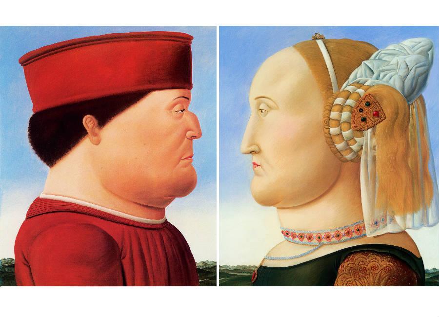 Fernando Botero , Piero della Francesca (dittico), 1998 Olio su tela; 204x177 cm