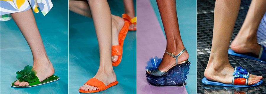 Moda Futurista - calzature - immagini di sfilata di Miu Miu e Prada